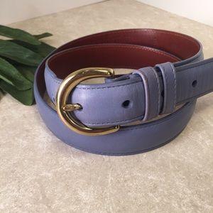 Coach blue purple leather belt gold hardware M